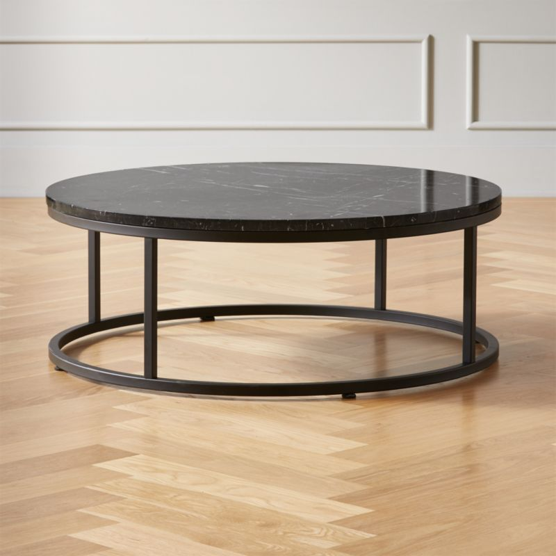smart round black marble coffee table reviews cb2