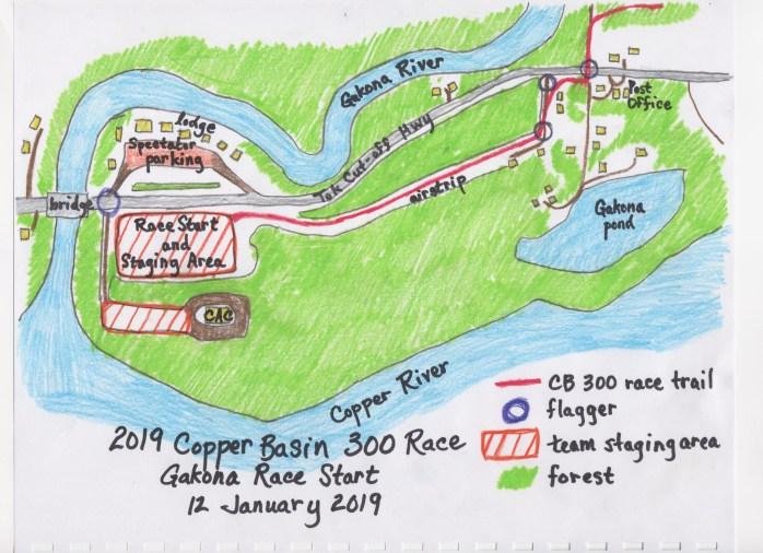 Gakona Race Start map