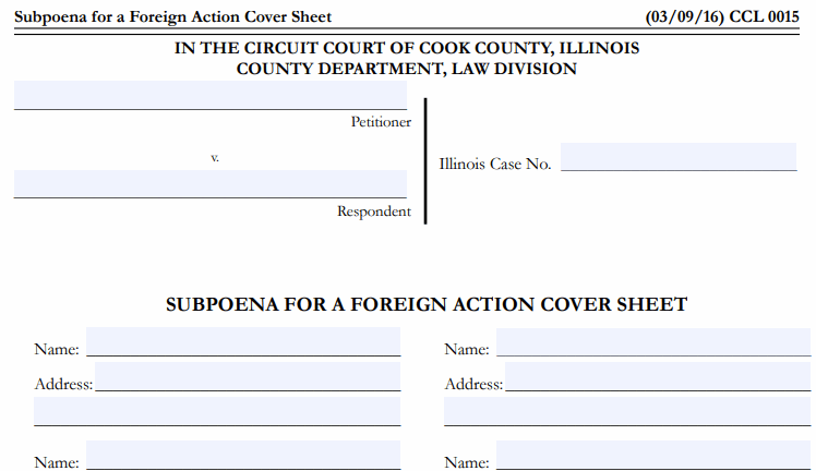 subpoena for foreign action