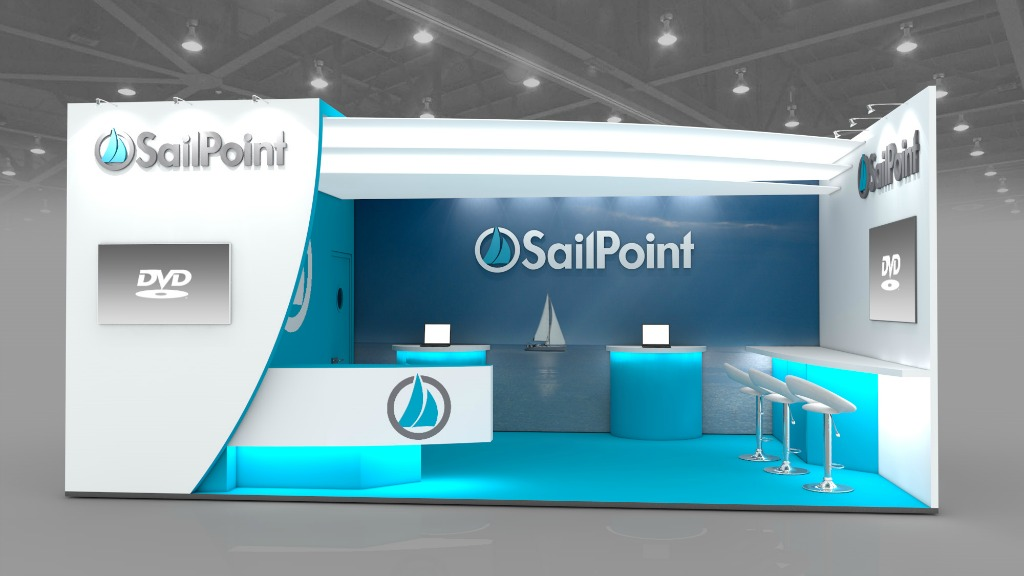 Blue and white exhibition stand design