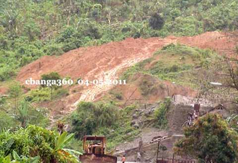 A sand and gravel mining operation in the hinterlands of Calabanga, chopping the massive wall, the hilly shoulders of Mt. Isarog. Will it get bald soon?
