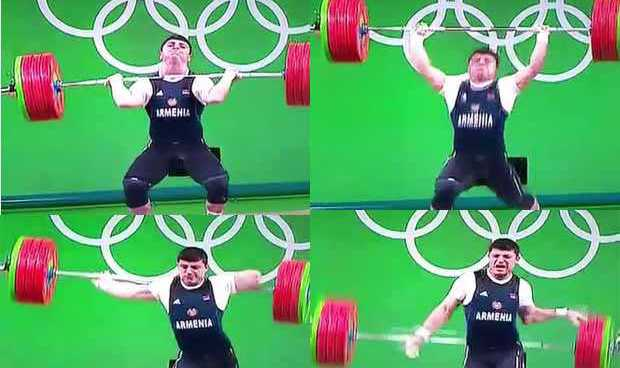 Armenian weightlifter hurts self during competition in Rio 2016