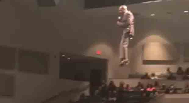 This flying preacher remind us of the hoverboard priest
