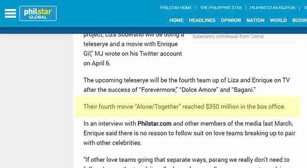 FALSE: LizQuen movie 'Alone/Together' grossed $350-million