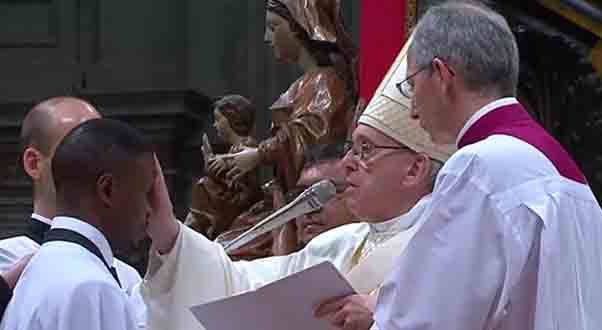 A new Catholic. After baptism, a candidate receives confirmation from the Pope.