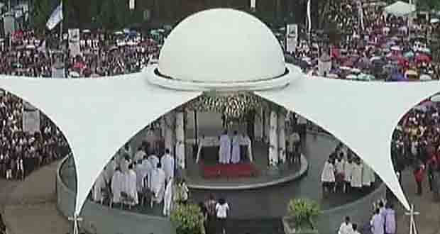 Live mass being held outside the Naga Metropolitan Cathedral before the annual foot and fluvial procession of the images of the Virgin of Penafrancia and the Divino Rostro.