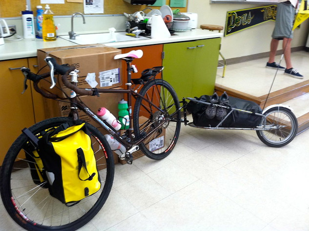 Sara's bike in the Don's Net Cafe classroom