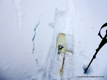 Minor cracking under foot at the new snow interface, both on shaded aspects (on NSF) and sunny aspects (MFcr)