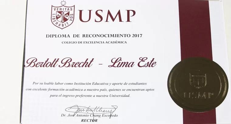 Diploma a la excelencia académica 2017 otorgado al CBB por la USMP