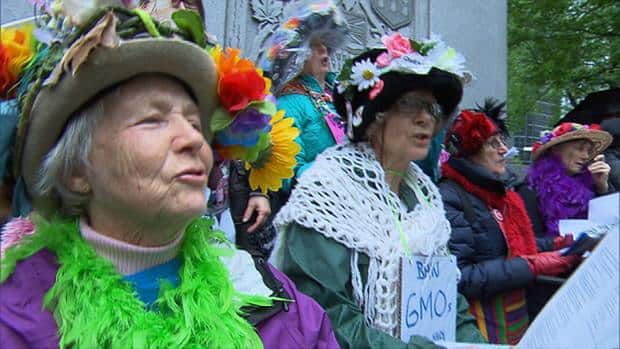 The Raging Grannies were at the Montreal protest against GMOs and Monsanto.