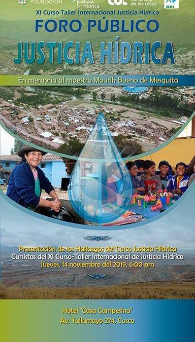 Foro Público: Justicia Hídrica. Presentación de los hallazgos del curso de justicia hídrica.