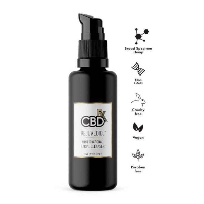 CBDfx CBD Hemp rejuvediol face cleanser mint charcoal broad spectrum help -2