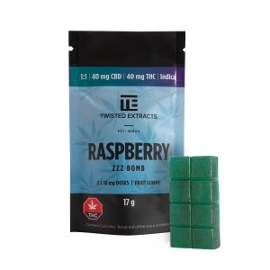 Twisted Extracts - Blue Raspberry 1:1 Zzz Bomb (40mg THC + 40mg CBD)