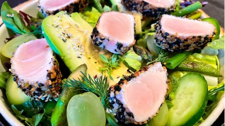 Dr. Igor's All-Green Hamachi Salad With Hemp Hearts Recipe