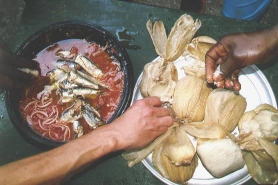 Polenta Kenkey and sardine