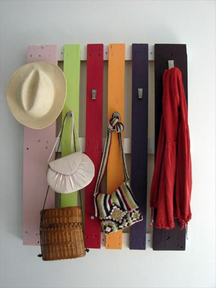 Wall Hat Holder with Colorful Wood Pallet