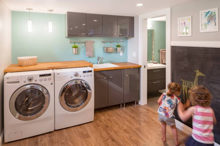 basement laundry room storage ideas
