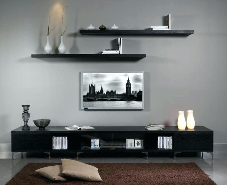 DIY Entertainment Center with Floating Shelves