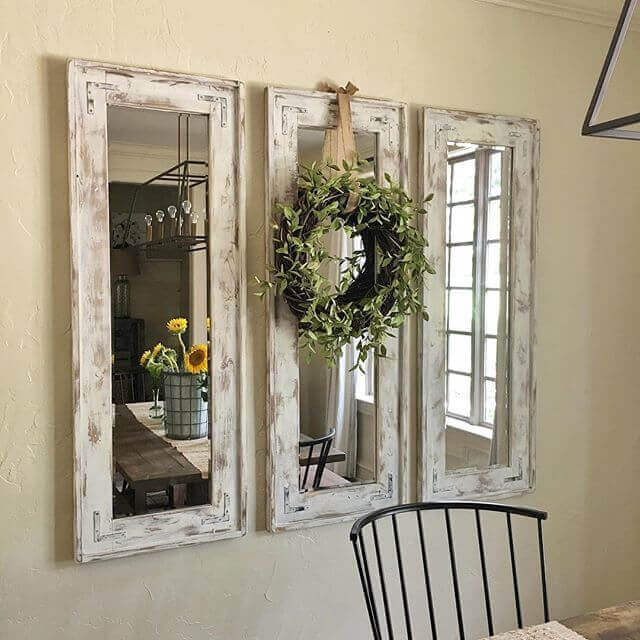 Whitewashed Mirrors with Eucalyptus Wreath