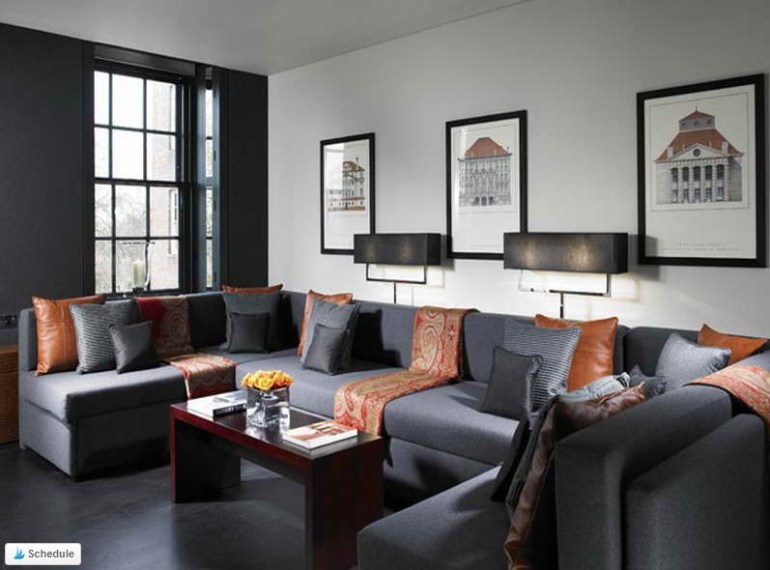 Bold and Masculine Gray Living Room Color