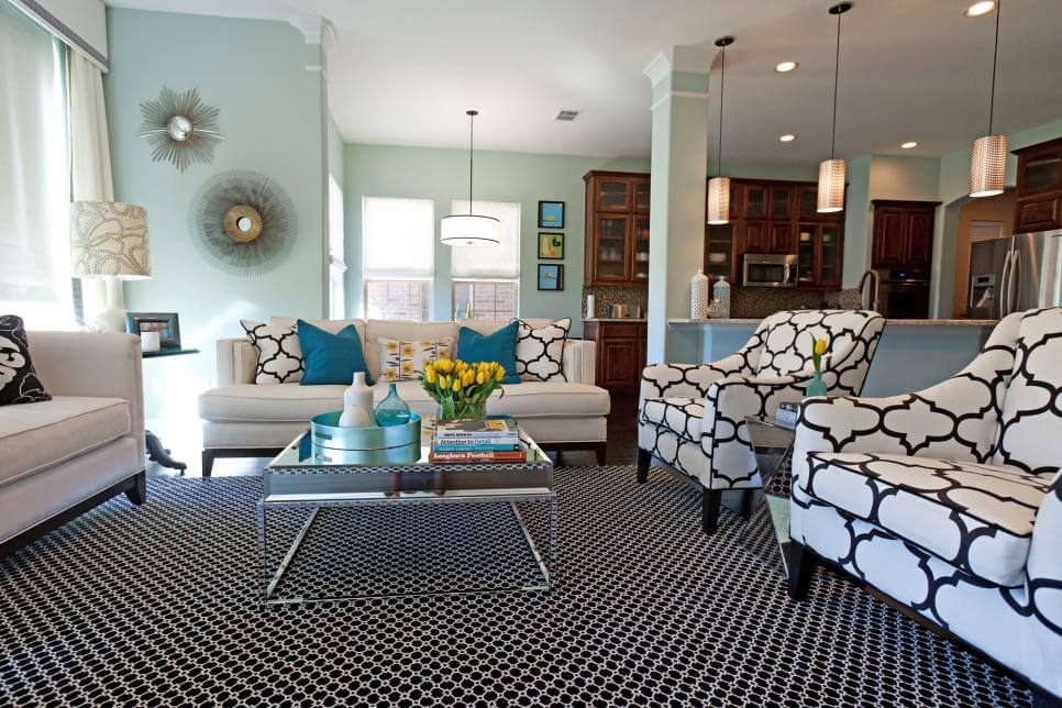 Living Room Color Scheme With Black, White And Also Powder Blue