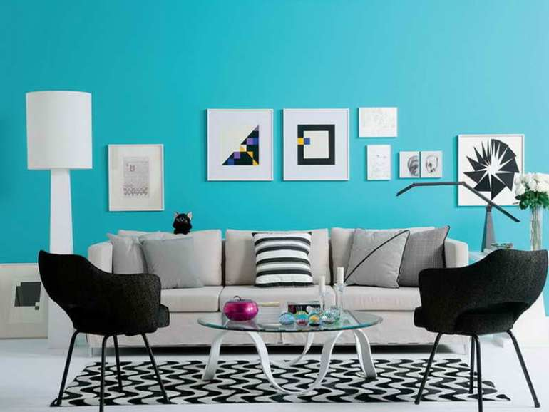 Living room with turquoise color scheme
