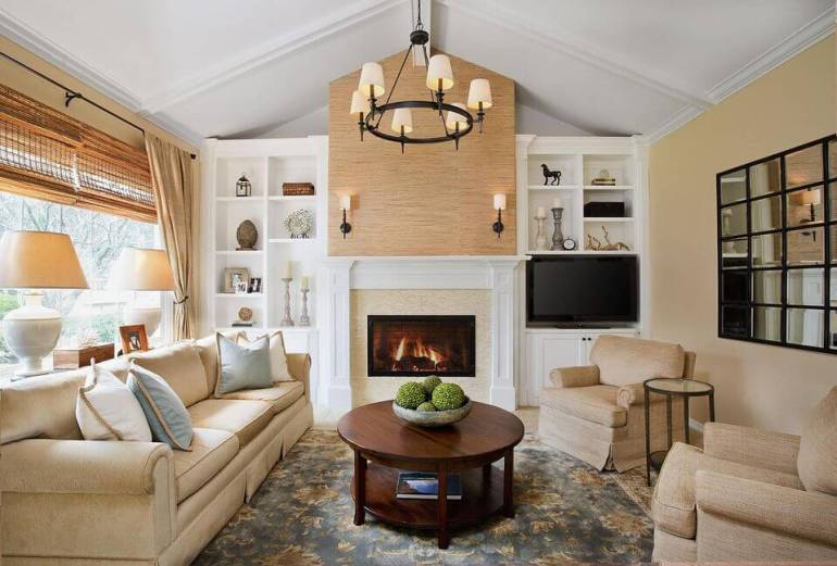 Transitional Living Room With Warm Color Scheme