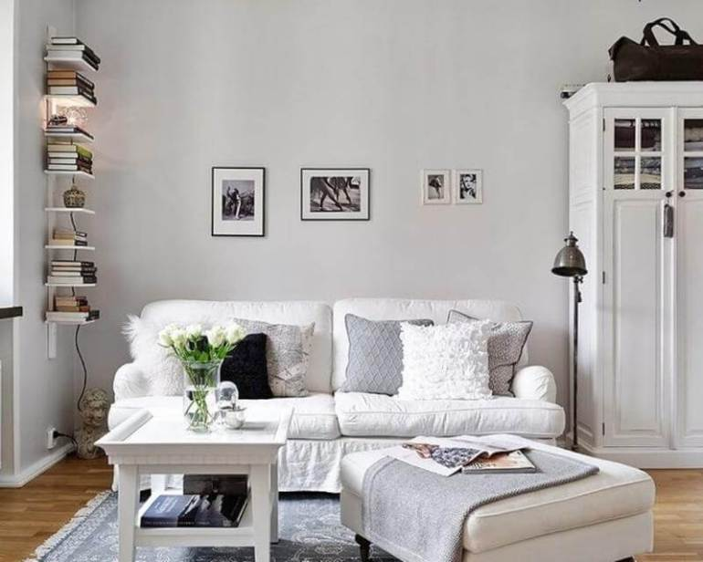 Living Room With All-White Color Scheme