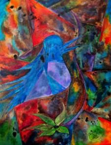 Some Sort of Bluebird - In Some Kind of Twighlit Sky, - Random Bloom In Beak, 11x14 [1-2011]
