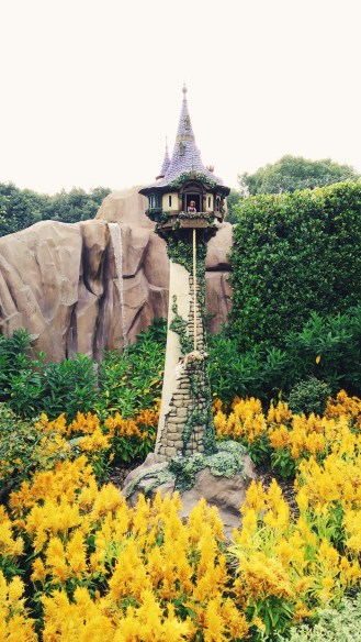 Rapunzel's tower from Tangled. This one's my favourite of all at Fairy Tale Forest. You crank the dial and up comes Flynn on Rapunzel's hair — except he dies every time (complete with sound fx, LOL).