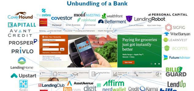 Unbundling of a bank