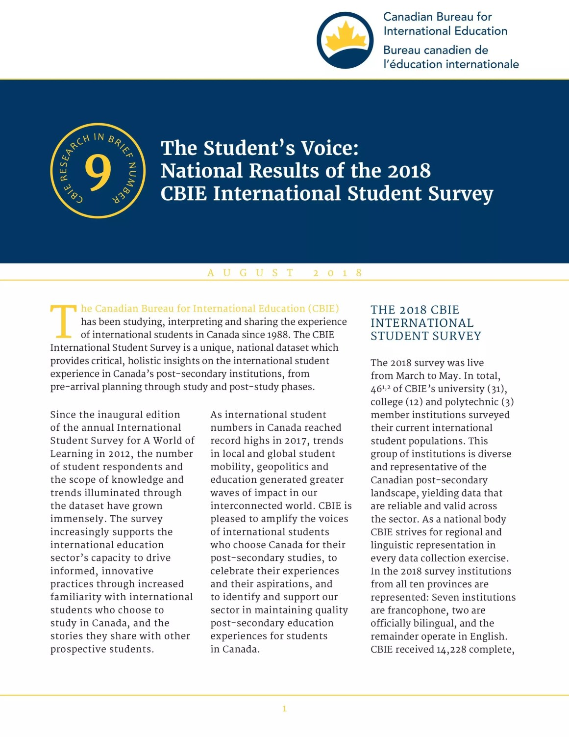 The Student's Voice: National Results of the 2018 CBIE International Student Survey