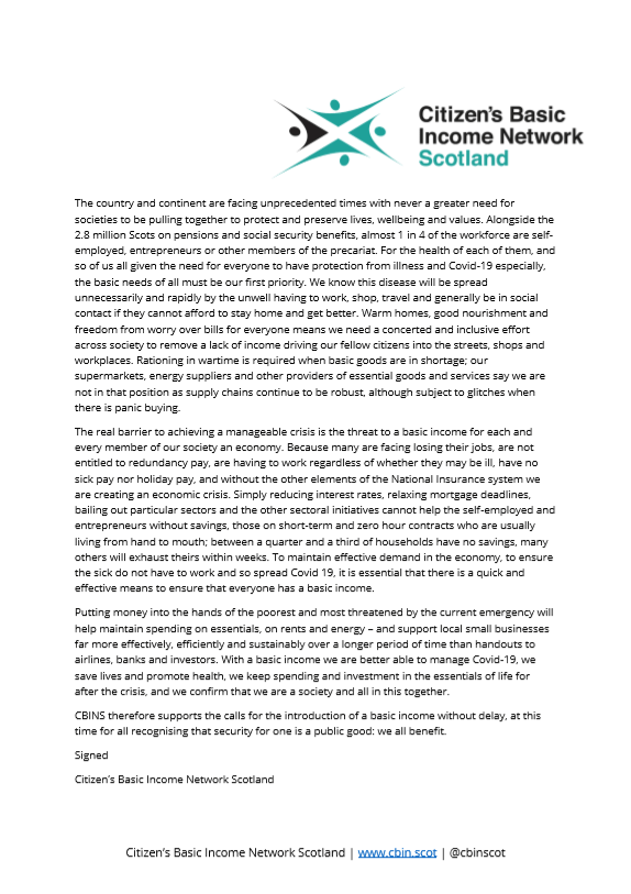 A letter from Citizen's Basic Income Network Scotland: Basic Income Now