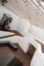 Inside the Sculpture Gallery featuring large steel sculptures by Robert Morris (1970)