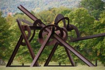 """Mozart's Birthday"" (steel, 1989) by Mark di Suvero, measures 23' h x 40' l x 40' w"
