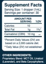 Slumber CBN Supplement Facts