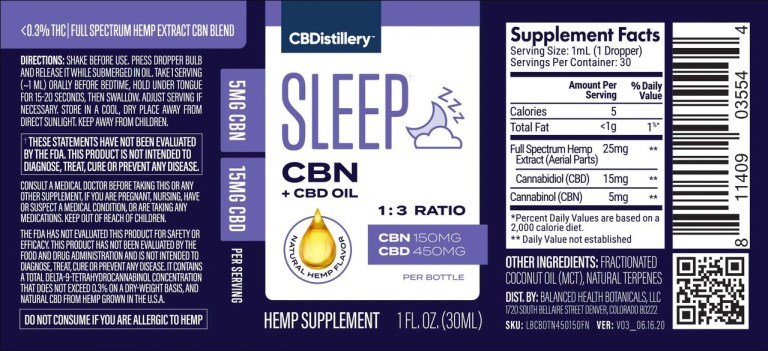 Sleep CBN + CBD Oil by CBDistillary label