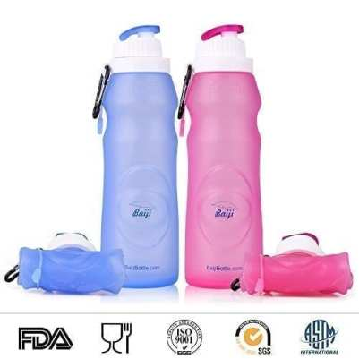 Baiji Bottle Collapsible Silicone Water Bottles - Sports Camping Canteen 20 Oz. - Easy To Clean And Store