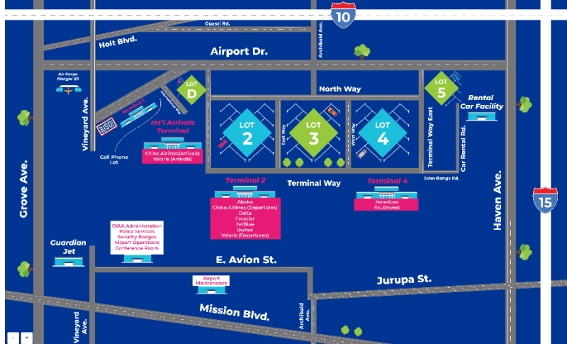 Ontario Airport Map - Overview