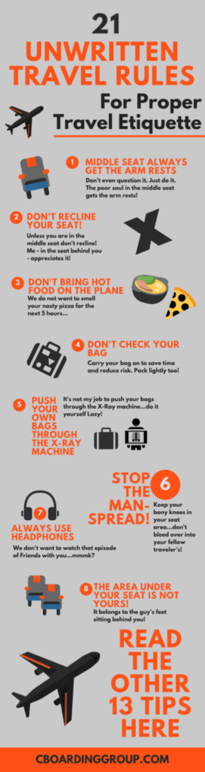 21 Unwritten Travel Rules for Proper Travel Etiquette - Infographic