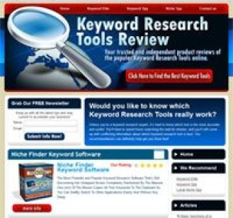CBProAds' niche keyword spy tools review storefront showing a magnifying glass, etc