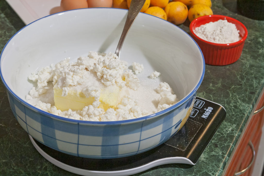 Adding the cottage cheese