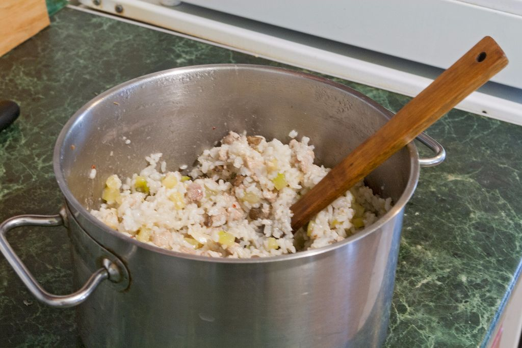 Combining the components of the stuffing