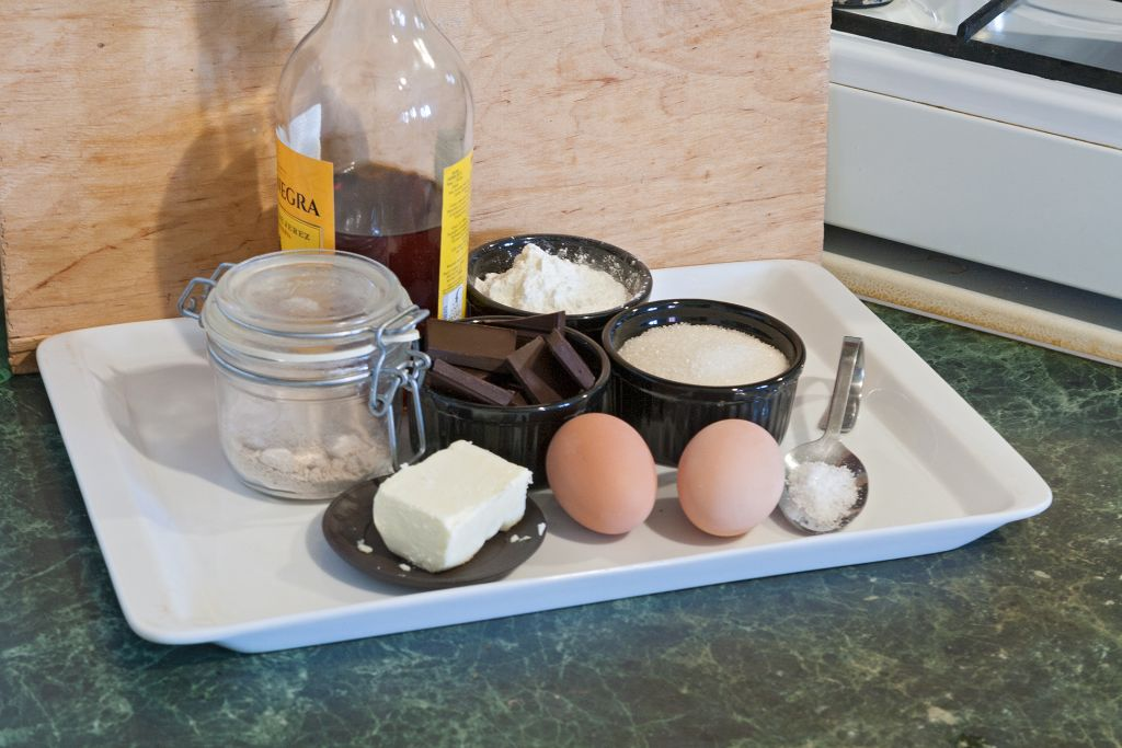 Preparing ingredients for chocolate crackle cookies