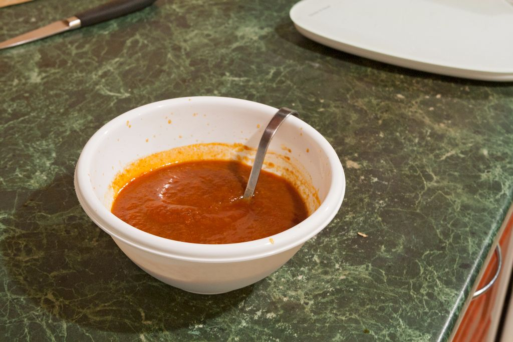 Mixing the sauce thoroughly