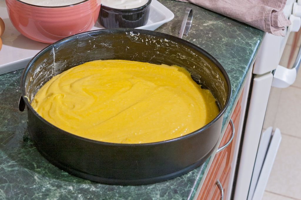 Transferring the batter into the springform pan