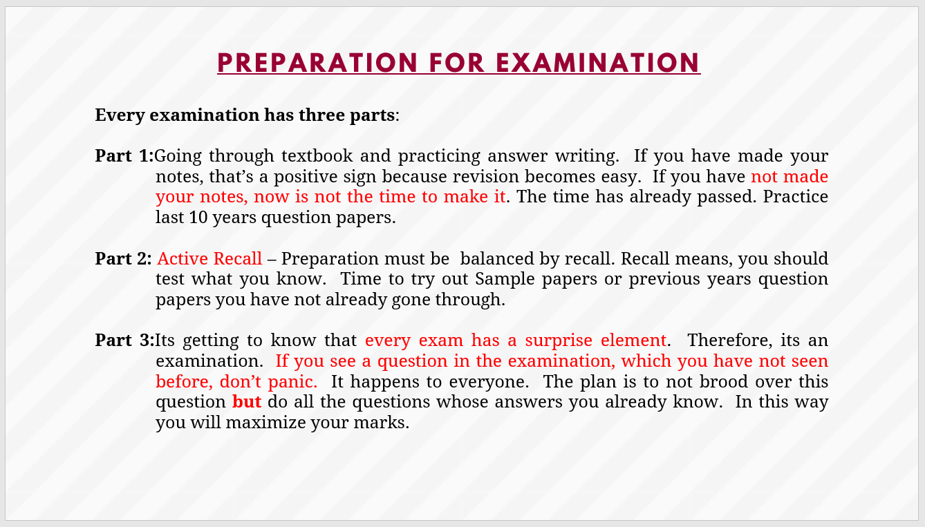 Preparation for Exam