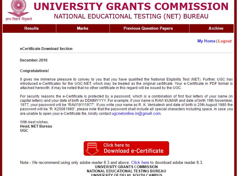 Download eCertificates : CBSE UGC NET January 2017 Exam - UGC NET ...
