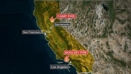 Um mapa mostra onde dois grandes incêndios estão queimando na Califórnia.