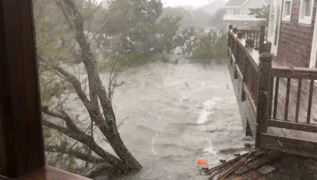 Severe flooding conditions can been seen on North Carolina's Ocracoke Island after Hurricane Dorian made landfall September 6, 2019, in this still image obtained by a social media video.